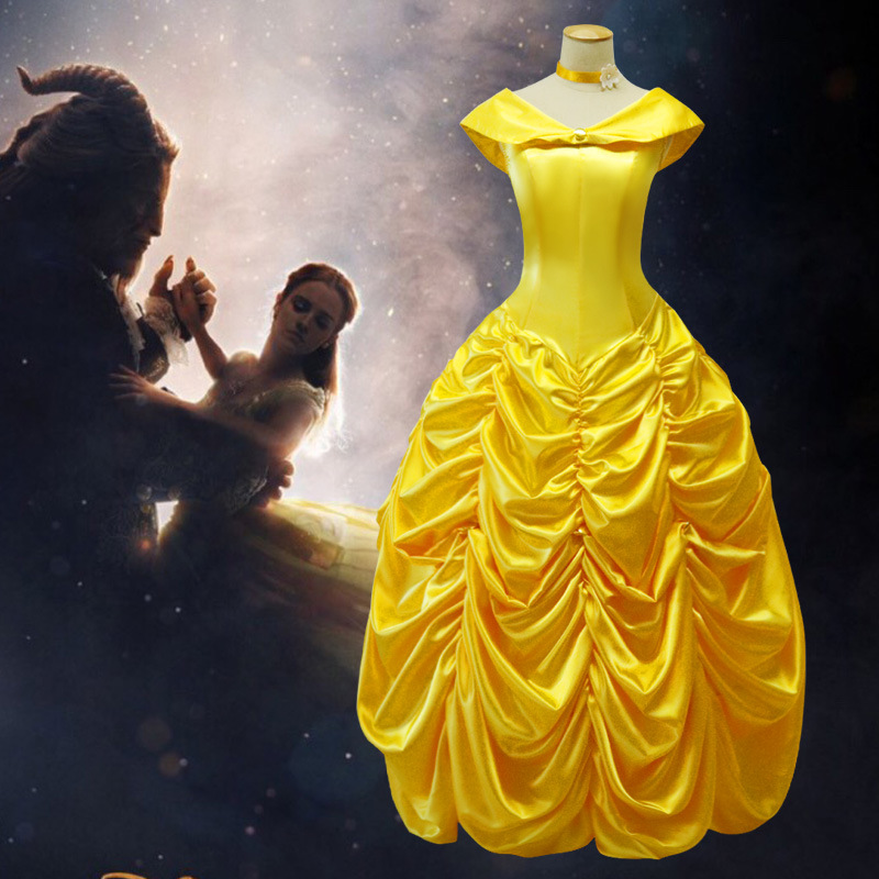 где купить Princess Belle Halloween Cosplay Costume Beauty And The Beast Costume Adult Girl Costume Suit Women Fancy Dress Cosplay Costume по лучшей цене