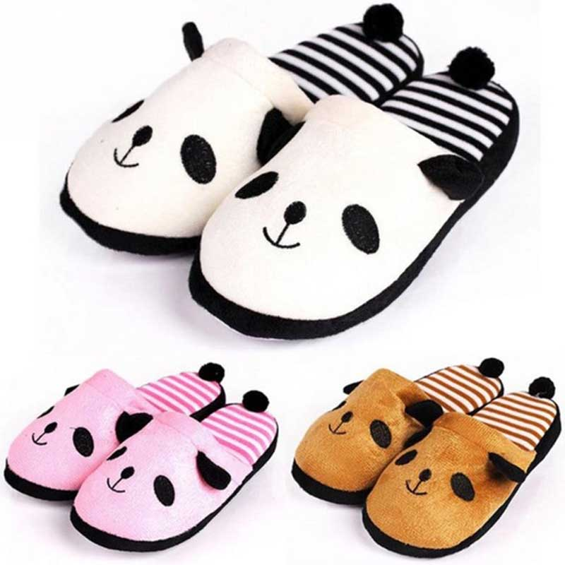 Women's Autumn Winter Plush Slippers Lovely Cotton Panda Flip Warm Home Floor Slippers Soft Cute Female Plus Size Ladies Shoes