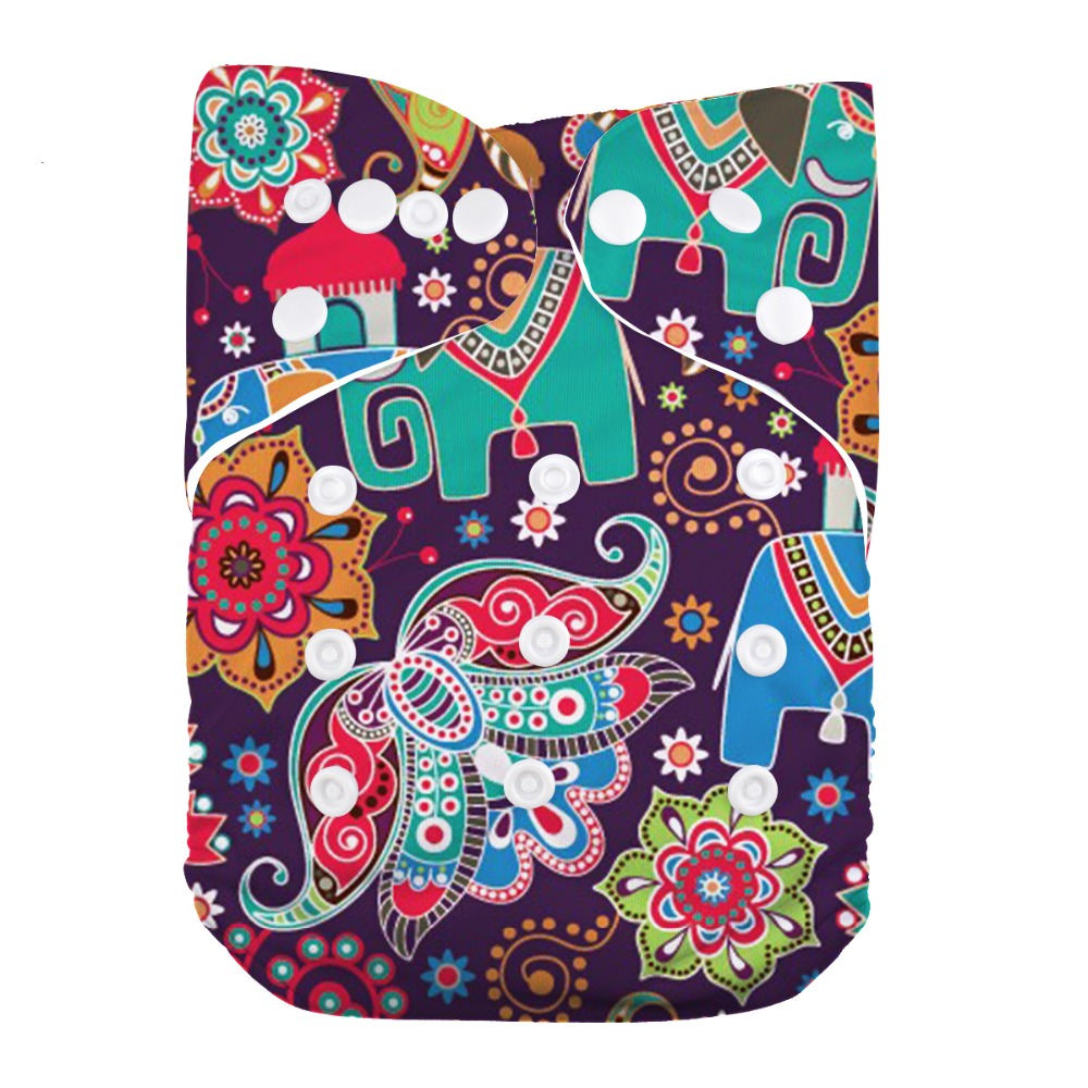 1 PC Elephant Reusable Washable One Size Diaper Cover Baby Pocket Cloth Nappy
