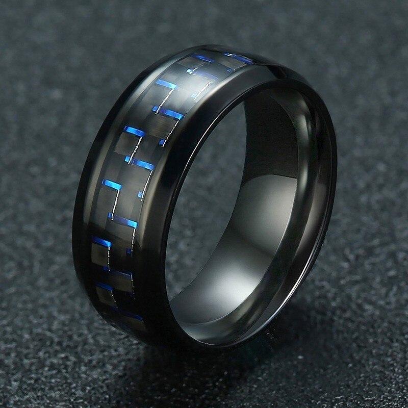 Mode Keramische Mannen Ring Zwart Roestvrij Staal In Blauw Carbon Fiber Inlay Wedding Merken Mannelijke Anillos Engagement Dropshipping