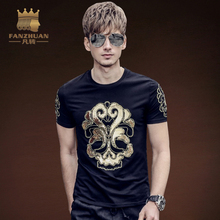 FANZHUAN Featured Brands Clothing Men Fashion Streetwear T-Shirt Man Casual TShirts masks Words Hip Hop Bronzing Embroidery Tops