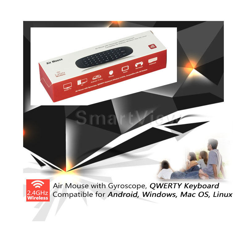 2.4GHz Air Mouse Wireless Keyboard Handheld Play Game Remote Control Smart TV BOX PC black 15 1