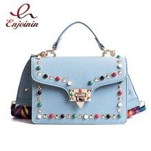 Fashion braided shoulder strap color rivet fashion pu leather women's handbag shoulder strap female crossbody messenger bag
