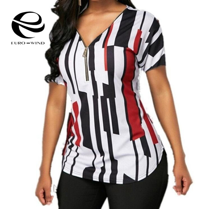 Plus Size 5XL Women Tops and   Blouses   Sexy V-neck Zipper Short Sleeve Summer Patchwork Casual Tee   Shirts   Tops Female   Shirts   Blusa