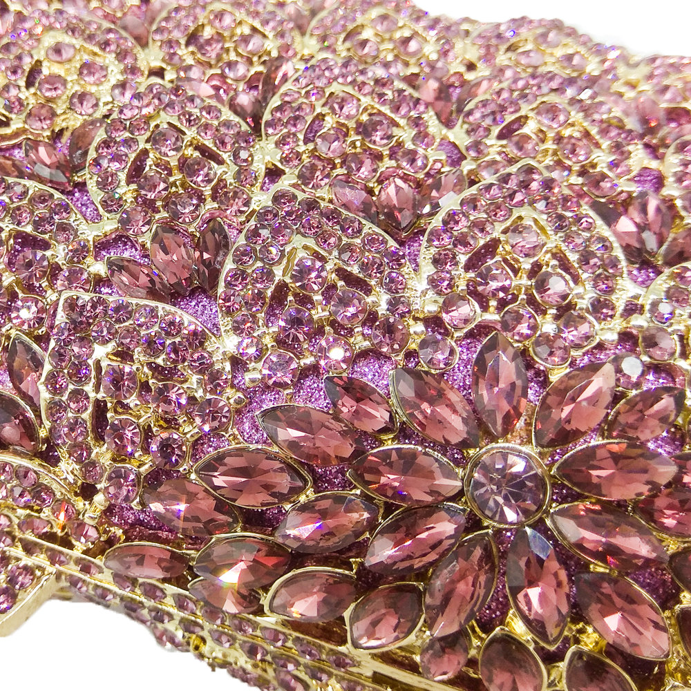 Boutique De FGG Socialite Light Purple Women Crystal Evening Purse Handbag Formal Dinner Bridal Wedding Party Diamond Clutch Bag