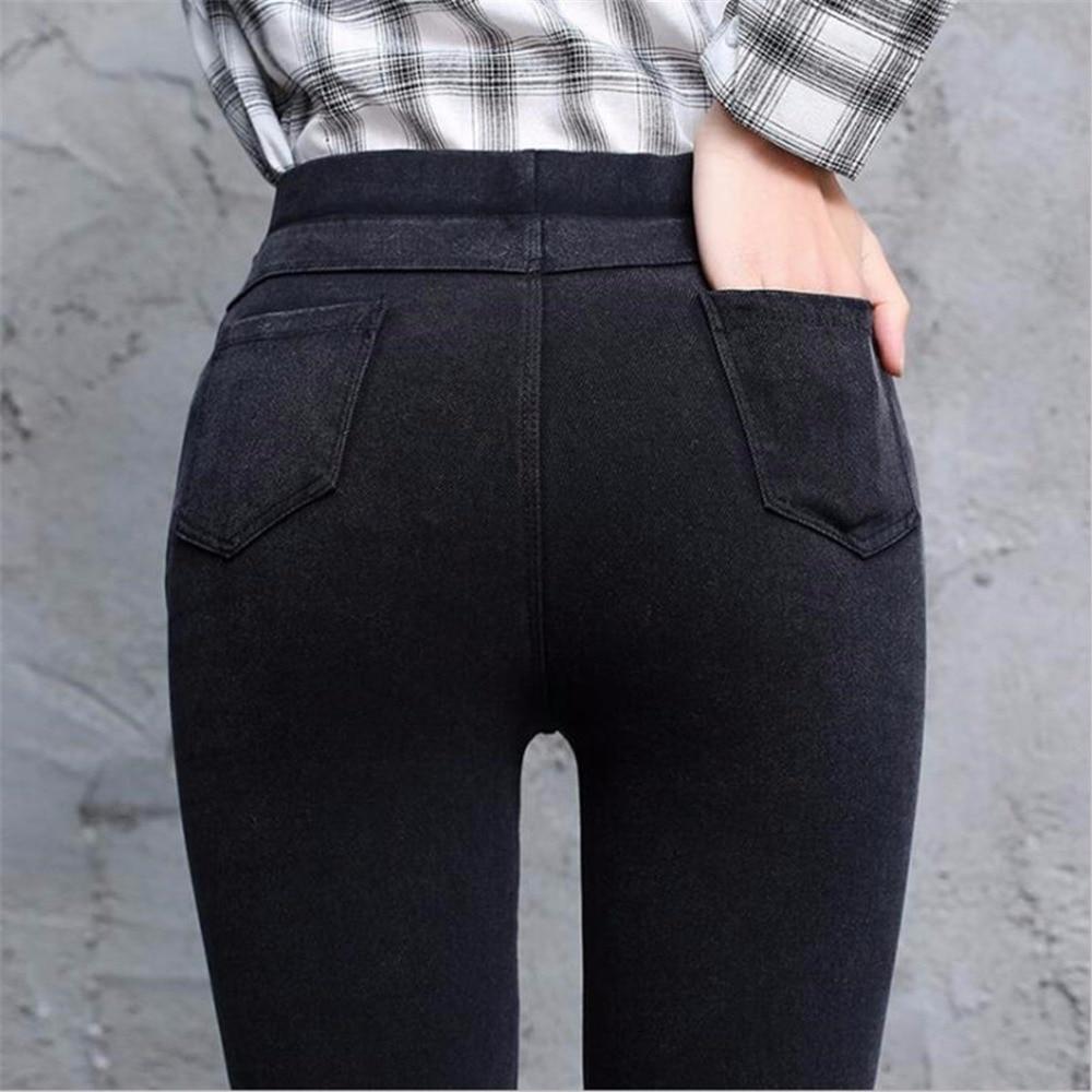 2018 Autumn Sexy High Waist Women Black   Legging   Up Wide Waist Fitness Leggin Ladies Show Thin   Leggings   Imitation cowboy   leggings