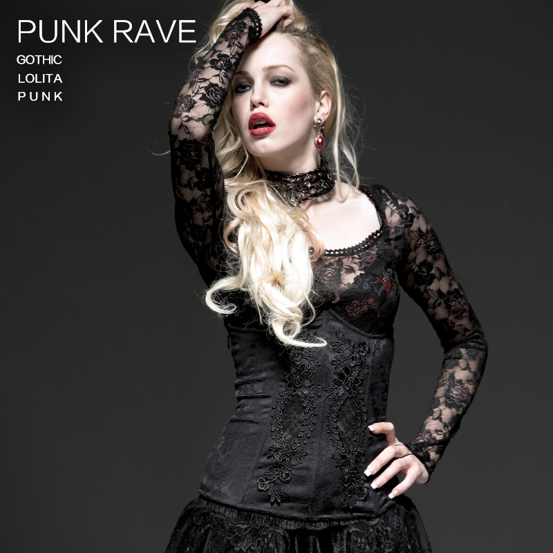 Punk Rave Store  New Punk Goth Retro Rock Victorian Black Corset Cosplay Lace Lacing Top Vest Shirt Y524 XS-XXL