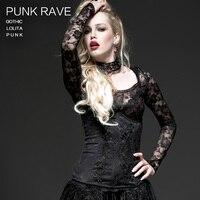 New Punk Goth Retro Roccia Vittoriano Corsetto Nero Cosplay Pizzo Allacciatura Top Maglia Shirt Y524 XS-XXL