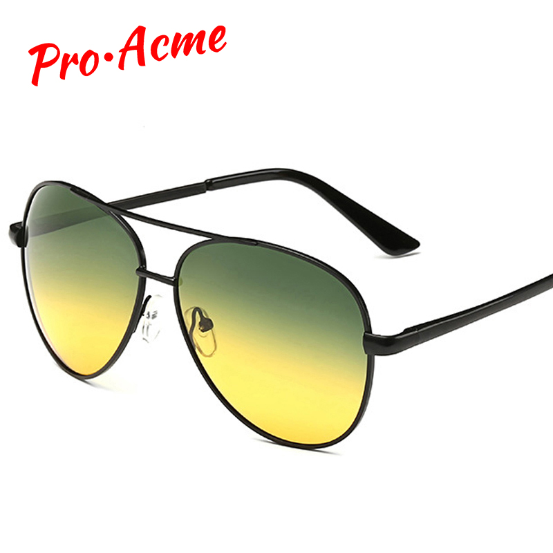 Pro Acme Tag- und Nachtsichtbrille Polarisierte Sonnenbrille Driving Sun Glasses for Man Reduzieren Blendung Metallrahmenbrille CC0113