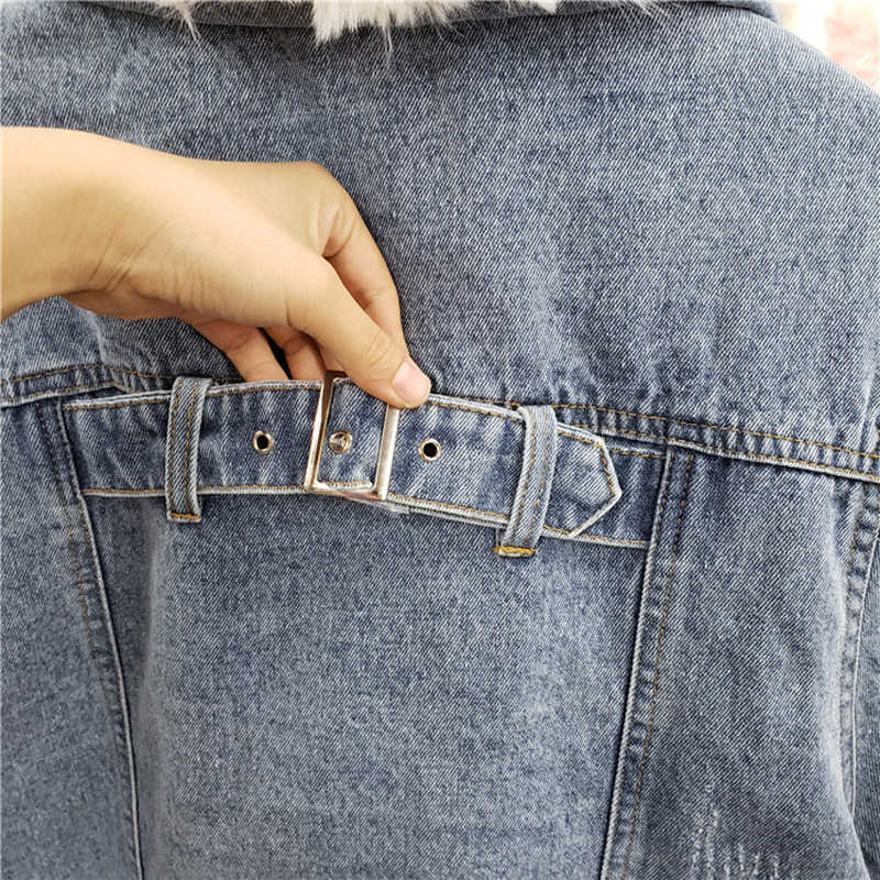 New High Street Fashion Denim Jacket Removível Real da Pele do Coelho das Mulheres Forro E Gola de pele Jaqueta de Inverno Oversize