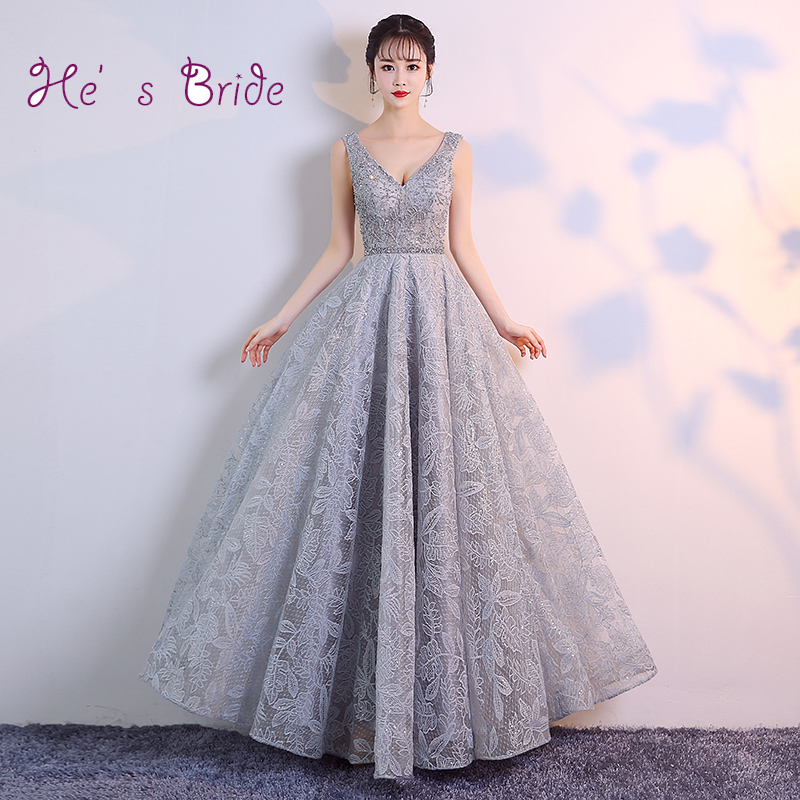 He s Bride New Fashion Gray Evening Dresses V-neck Sleeveless Pattern Floor  Length Elegant Prom fae7e0f72f9d