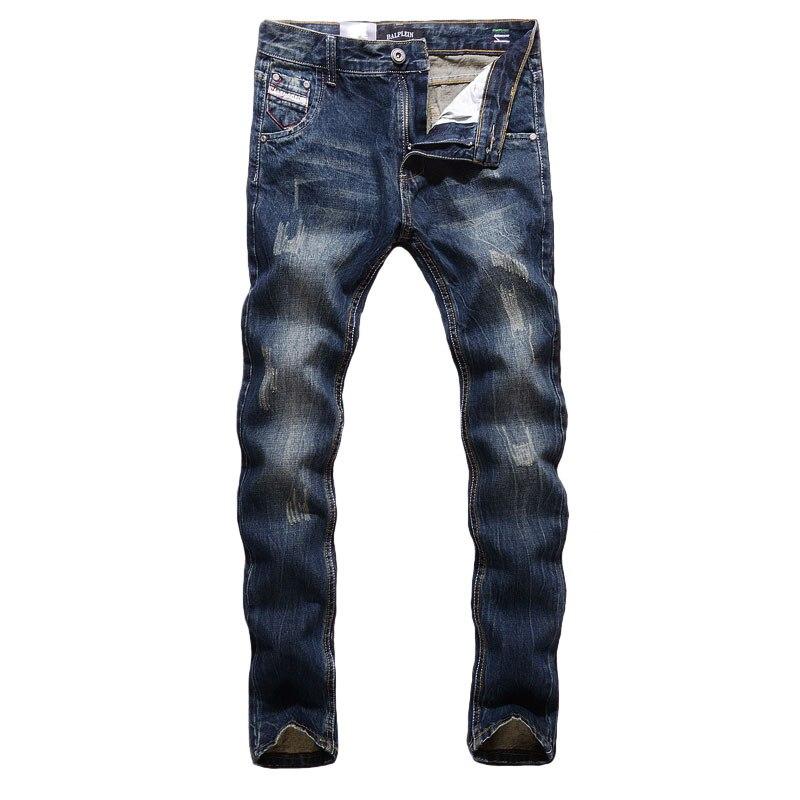 Fashion Classcical Men Jeans Dark Blue Color Straight Fit Cotton Denim Pants hombre Size 29-40 Italian Style Vintage