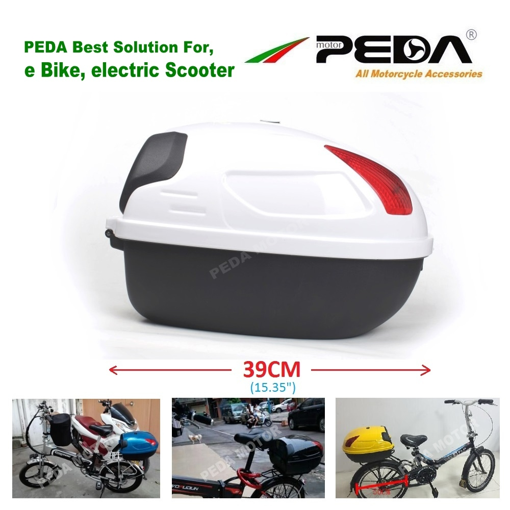 2019 e Bike Box ebike luggage Electric Scooter Trunk Motorcycle Top Case 17L Tail Box Luggage WHITE Baul Motocicleta Bauletto