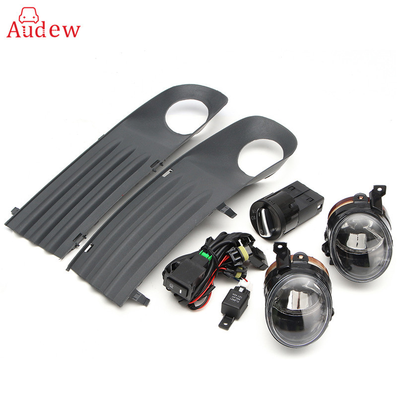 55W Front Left Right Foglight Grille Kit Set w/ Wiring Headlight Switch For VW T5 TRANSPORTER 2003-2010 front left