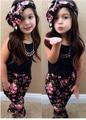 2016 Nuevas muchachas de la marca set Niños Deportes set rojo y negro elegir regalo de Cumpleaños de la muchacha vestido del cabrito ropa de la muchacha