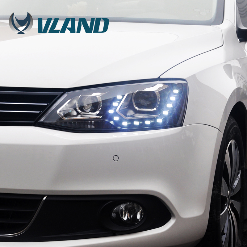 Free Shipping for VLAND Car Head Lamp for Jetta Mk6  Sagitar LED Headlight Projector lens Xenon Lamp HID free shipping for vland car head lamp for hyundai elantra led headlight hid h7 xenon headlamp plug and play for 2011 2013