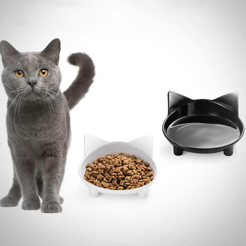 Pet Feeder Cat Bowl Shallow Cat Food Bowl Non Slip Dish Small Puppy Dog Wide Cat Water Bowls for Relief of Whisker Fatigue