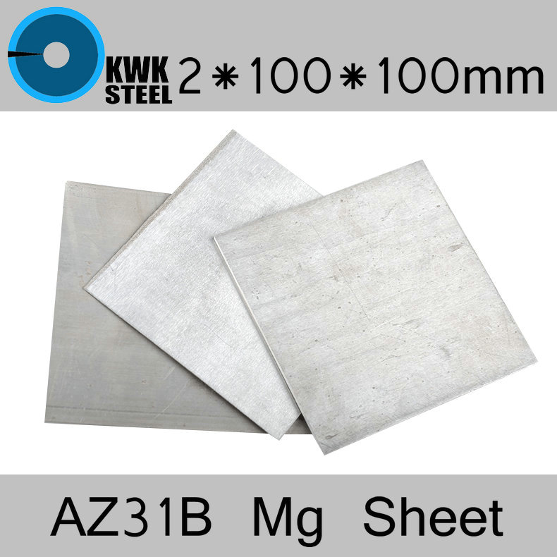 2 * 100 * 100mm AZ31B Magnesium Alloy Sheet Mg Plate Electroplating Anodes Experiment Anode Free Shipping