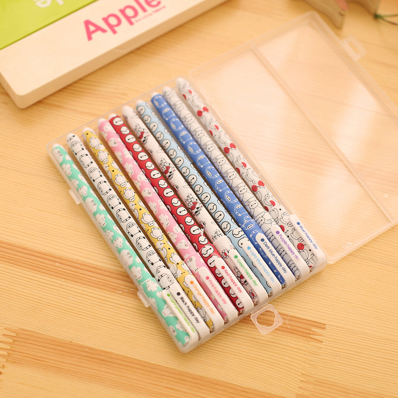 DL Japan South Korea Stationery small fresh floral watercolor pen wave neutral  water color pen set 10 Stationery for neutral pen blue fruit faint small floral creative chopsticks thin rod diamond signing pen writing word black 0 38mm 10 pcs set