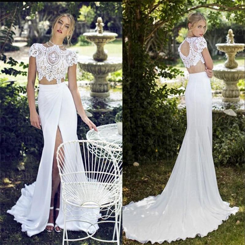 2017 Sexy Alta Hendidura Vestidos de Novia de Encaje de Dos Piezas de la Blusa A