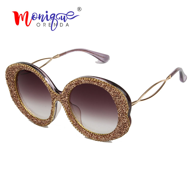 2019 Retro Round Sunglasses Women Men Vintage Gravel Rhinestone Female Sun glasses Hollow Legs Oculos De Sol Feminino