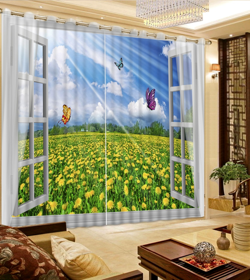 Beautiful Bedroom Curtains 3D Curtains Window Sunflower ... on Beautiful Bedroom Curtains  id=14442