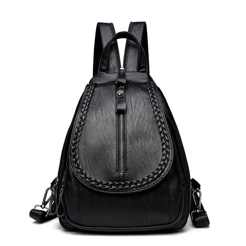 Women s PU Leather Backpack Korean School Bag For Girls Solid Ladies Backpacks Soft Large Shoulder