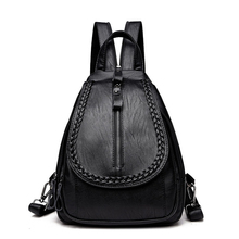 Женский кожаный рюкзак Корейская школьная сумка для девочек Однотонные женские Рюкзаки мягкий большой плеча Сумки