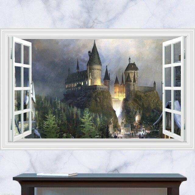 Vintage Harry Potter Affiche 3d Faux Fenetre Paysage Mur Autocollant