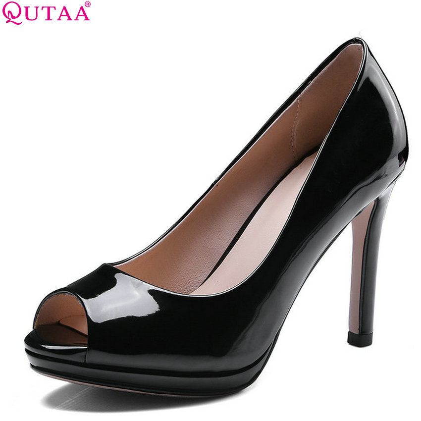 QUTAA 2018 Women Sandals Patent Leather Women Shoes Platform Peep Toe Thin High Heel Westrn Style Women Sandals Size 34-43 цена