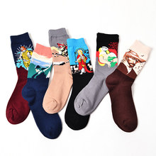 Novelty Mens Oil Painting Unisex Art Crew Socks Crazy Man Van Gogh Picasso Dream Starry Night Poker Wave Jesus Cotton Long Sock