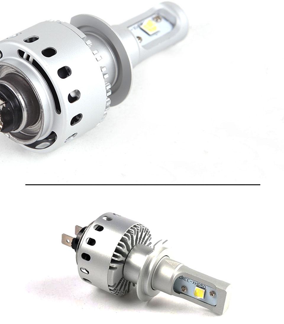 COOLEEON LED Car Lights H1 H4 H7 H11 9005 9006 Auto Headlamp Bulbs 12V 24V Cars Headlights 80W CREE LED Chips 6000K White Lamp (19)