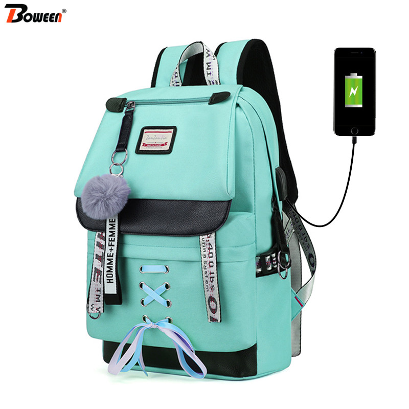 Backpacks Women Canvas Teenage Junior Girls Large Green Middle High-College for USB School-Bag