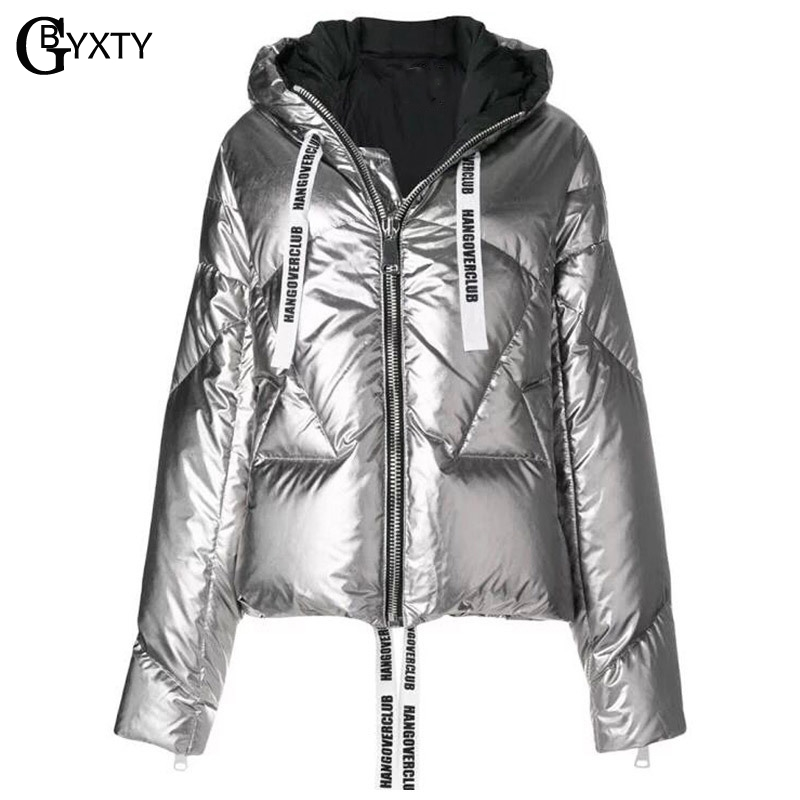 GBYXTY Sliver Feather Puffer Jacket Women Winter Fashion Hooded Shine Duck Down Jacket and Coat Femme