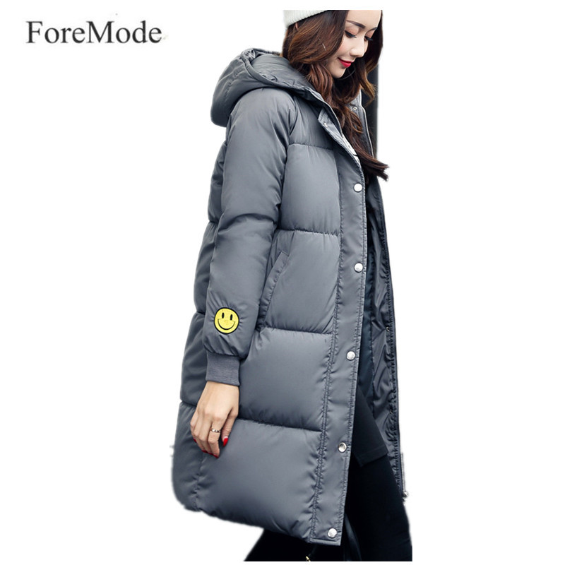 New Winter 2017 Cotton-padded Jacket In Women's Clothing Han Edition Hooded Smiling Face Long Plus-size Fashion Warm Coat 2015the new women s clothing han edition cotton padded clothes coat long big yards more loose tooling cotton padded jacket