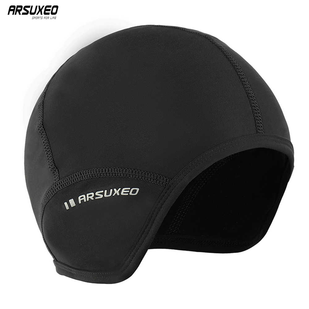 ARSUXEO Winter Fleece Cycling Caps  Sports MTB Bike Balaclava Hats Snow Skull Caps Helmet Liner For Man & Woman Windproof PT03