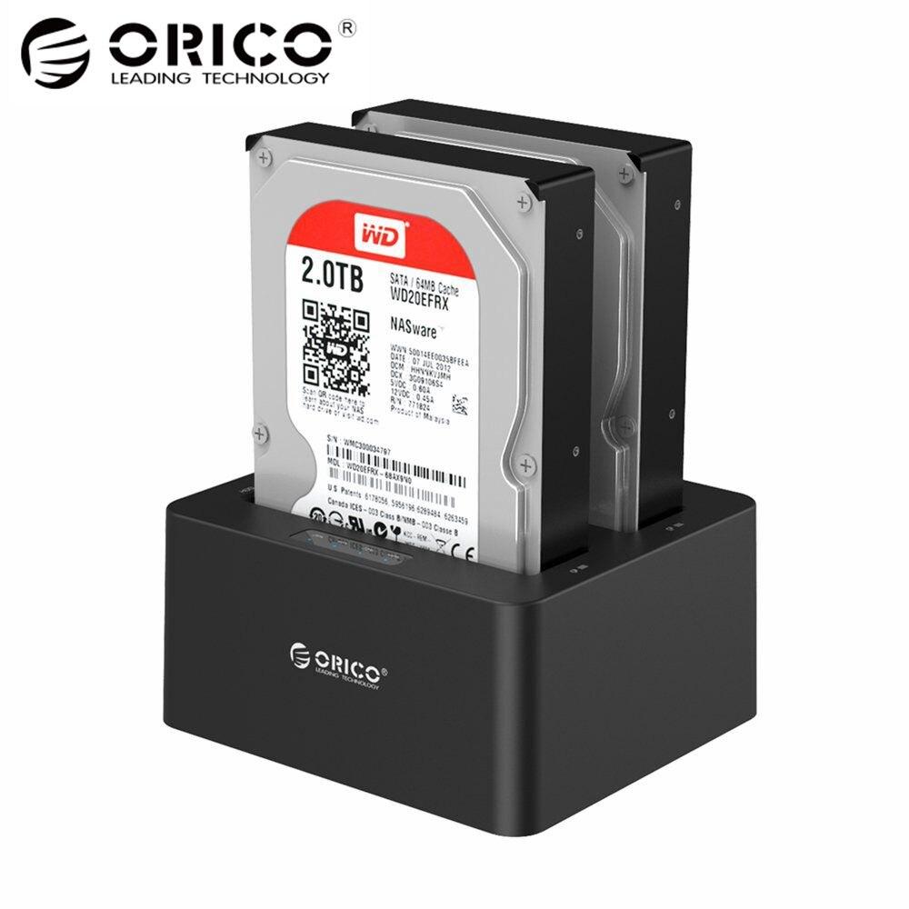 USB3.0 2-bay Docking Station Disco Rígido Externo para SATA 2.5 em 3.5 com Clone Desligada Protocolo de Apoio UASP 16 tb (6629US3)