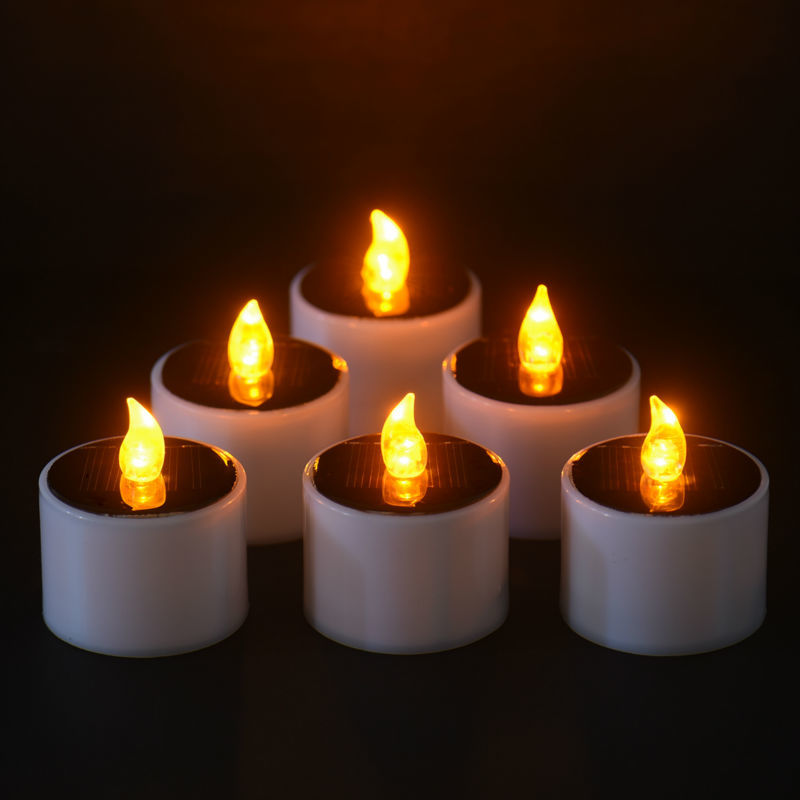 6 Pieces/Lot New Type Yellow Flicker Solar Power LED Light Candles Flameless Electronic Solar LED Nightlight Solar Energy Candle