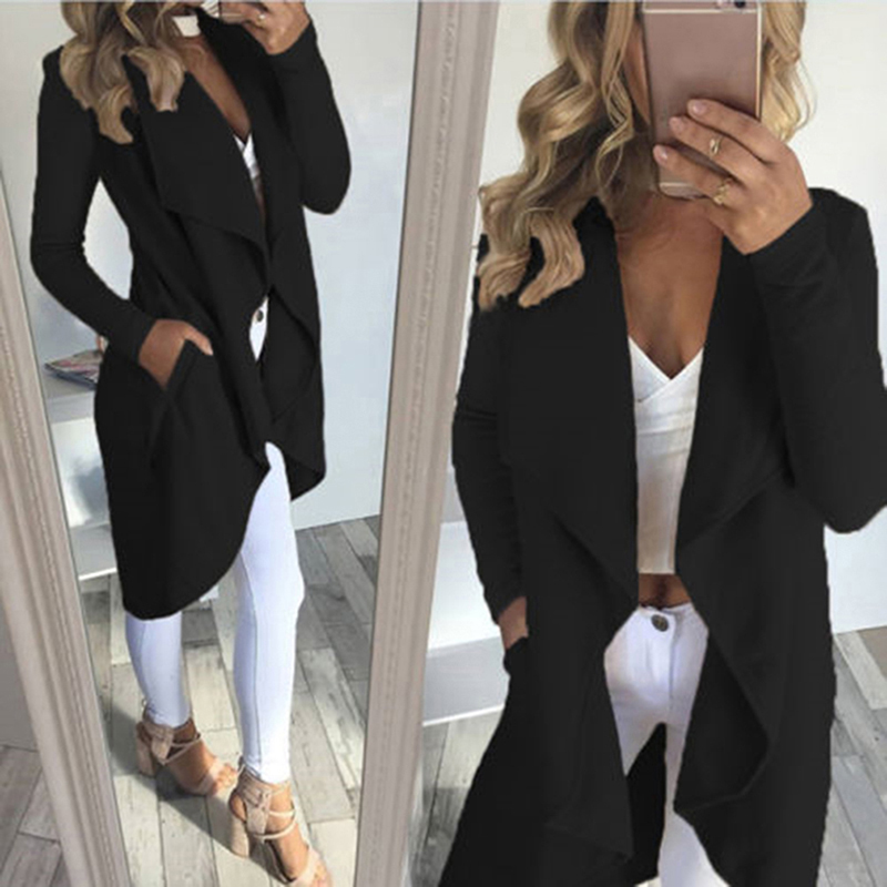 New Fashion Women Casual Pocket Irregular Cardigan Coat Loose Casual   Basic     Jacket   Elegant Long Outwear Slim   Jacket
