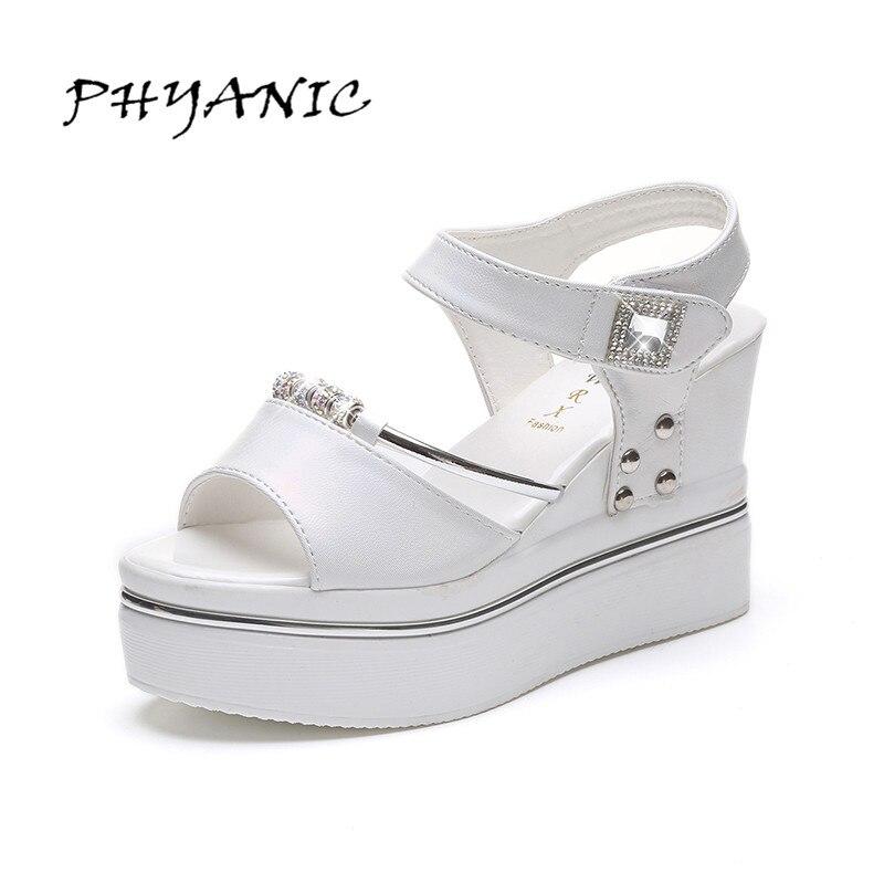 PHYANIC 2017 Summer New Hook & Loop Women's Sandals Wedge High Heel Korean Style Black Shoes Woman Size 35-39 PHY3390 phyanic 2017 summer women sandals platform wedges sandals hook