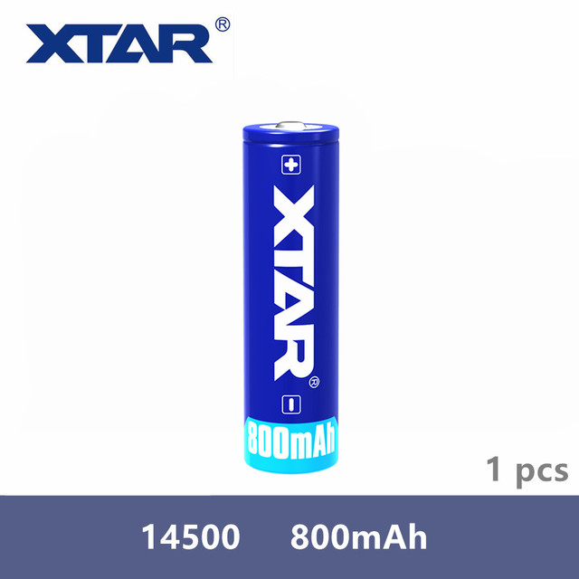1 Pcs original Xtar Rechargeable 14500 800mAh 3.7V protected battery designed for flashlights portable power supplies etc