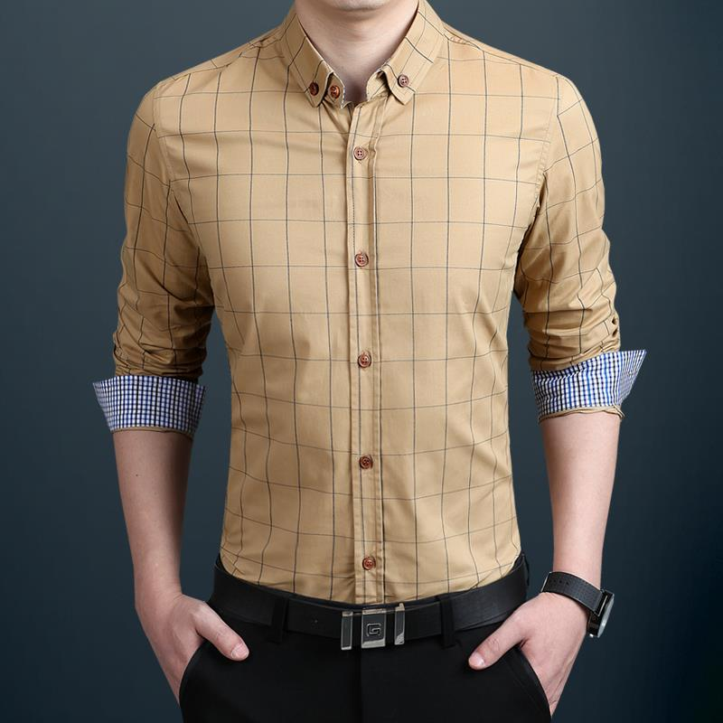 ZhenZhou Plaid Heren Shirt Lange Mouw Slim Fit M-5XL 100% Katoen - Herenkleding - Foto 4