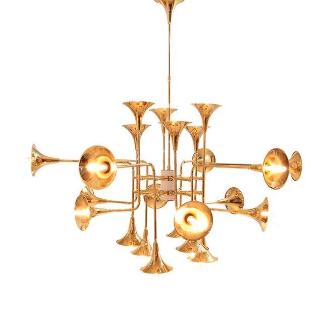 24 Leiter Moderne Kronleuchter Lampe Toolery Lautsprecher Form Hängeleuchte  Chrom Gold Schwarz Körper Wohnzimmer Esszimmer Licht