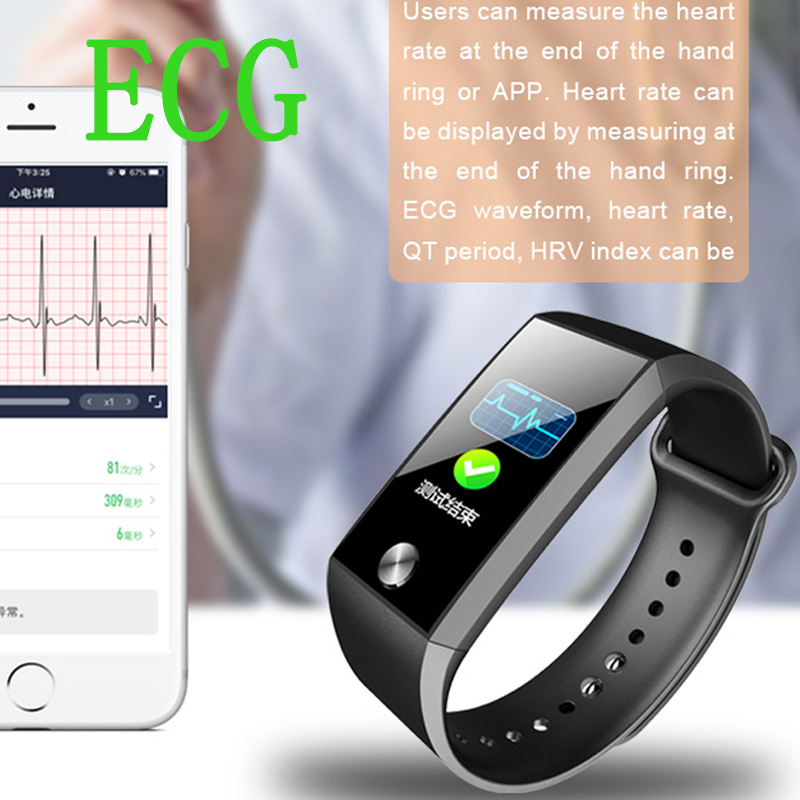 Smart Bracelet Heart Rate Tracker Blood Pressure ECG PPG Smart Watch Men Women Fitness Monitor IP67 Smart Band for Android IOS