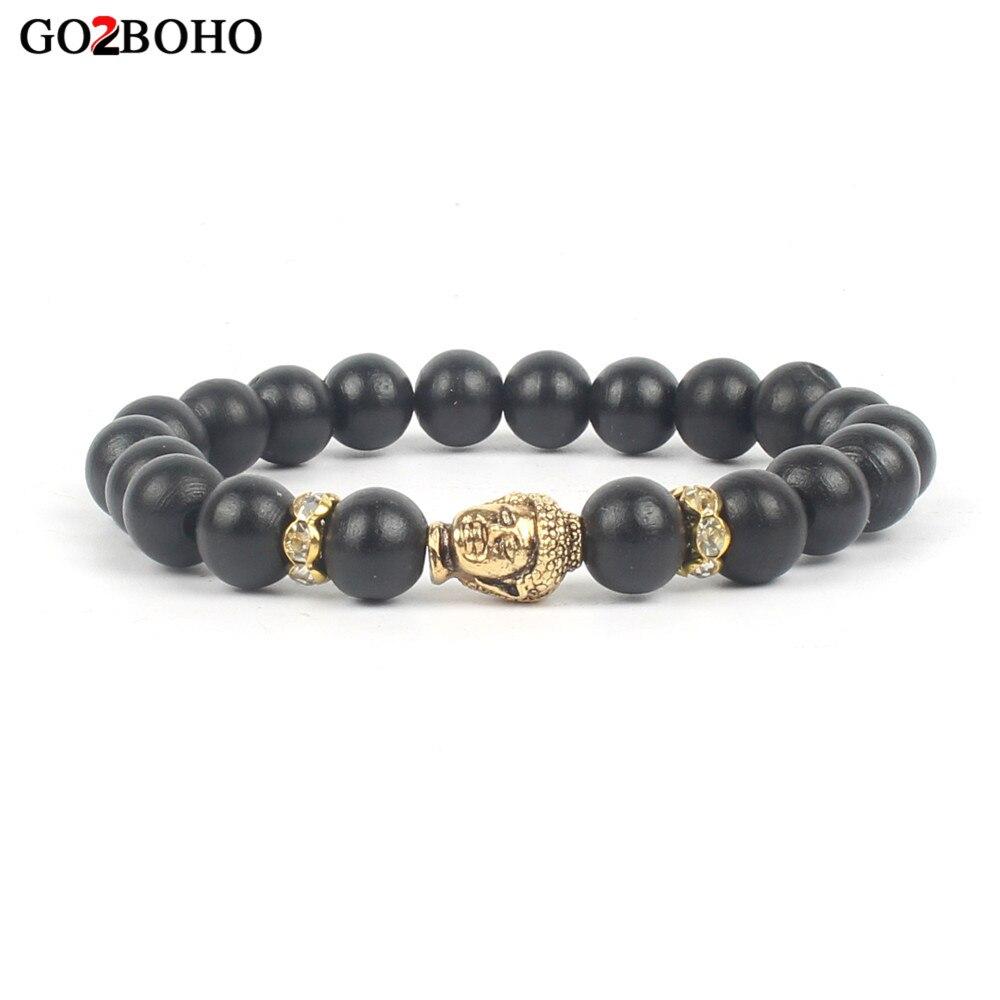 Go2boho Dropshiping Wholer Blcck Wood Beads Bracelets Buddha Head Pray Bracelet Men Jewelry Women Handmade Meditation Chakr In Strand From