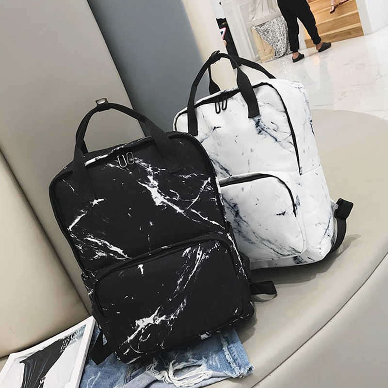 High quality student bag 2019 new student fashion trend simple ins canvas shoulder bag marble texture printing backpack