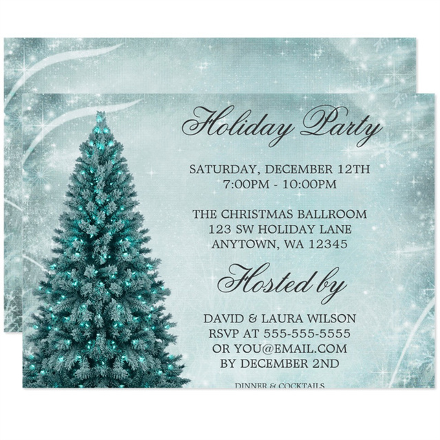Personalized Teal Blue Christmas Tree Holiday Party Invitation-in