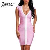 INDRESSME 2017 New Women Sexy Sheath V Neck Solid Summer Bandage Dress