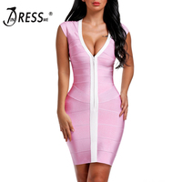 INDRESSME 2017 New Women Sexy Sheath V Neck Solid Summer Bandage Dress