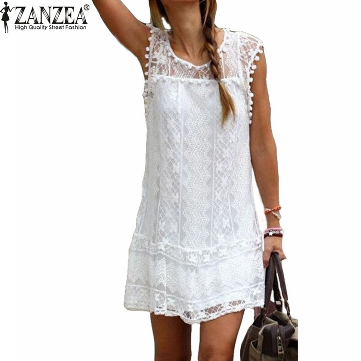 ZANZEA Vestidos 2018 Sommer Elegant Kvinder Casual Solid Short Sleeve Slim Lace Mini Kjole Toppe Ladies Sexy White Dress Plus Størrelse